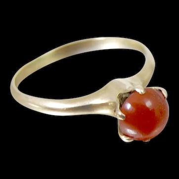 Victorian 10K Rose Gold Carnelian Ring Size 6.50