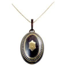 Antique Victorian 14K Rose Gold Pique Inlay Pendant