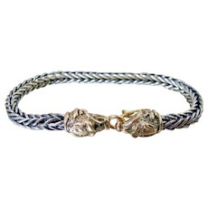 8K Rose Gold Sterling Panther Head Braided Bracelet Unisex