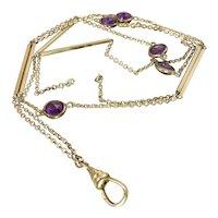 Edwardian Purple Paste Muff Guard Watch Chain Necklace