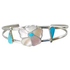 Zuni Southwestern Sterling Turquoise Mother Of Pearl Flower Cuff Bracelet Rosita & Anselm