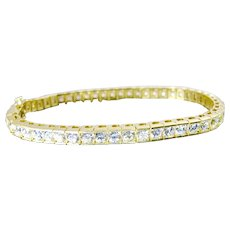 Estate 14K Yellow Gold Cubic Zirconia CZ Tennis Bracelet