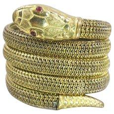 Art Deco Snake Bracelet, Coiled Mesh Snake Bangle. Sold As Is