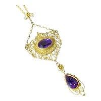 Victorian 12K Gold Amethyst Lavalier Necklace 14K GF Chain