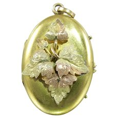 Victorian Pinchbeck Oval Tri Color Gold Grape Leaves Photo Locket.