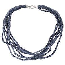 Sterling Tanzanite Bead Necklace Six Strand Torsade