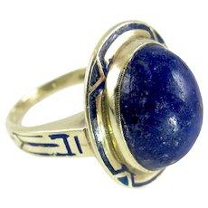 14K Art Deco Enamel Lapis Ring