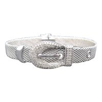 Sterling Silver Mesh Diamond Buckle Bracelet