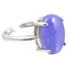 Vintage Sterling Purple Lavender Jade Ring