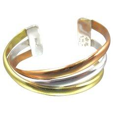 Robert Nilsson Sterling Tricolor Cuff Bracelet