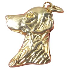 Estate 14K Retriever Dog Pendant Charm Yellow Gold