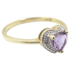 10K Amethyst Diamond Heart Ring, Pave Set Diamonds Yellow Gold Halo Ring Size 7