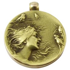 14K Art Nouveau Pendant. Solid Yellow Gold Repousse Maiden Gibson Girl Birds Monogrammed 11.7 Grams