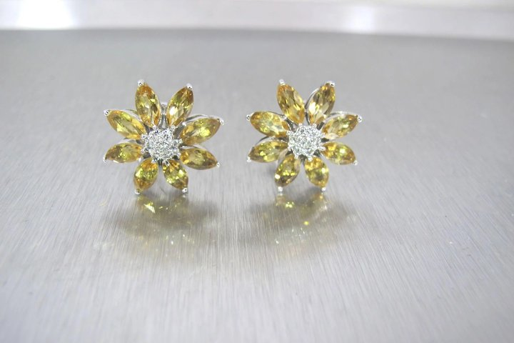 18k white gold citrine flower earrings omega back studs 18k white gold citrine flower earrings omega back studs mightylinksfo