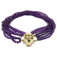 Elizabeth Taylor Forever Violet Necklace. Forever Violet Collection. Multi Strand Purple Glass Beaded Torsade. Elizabeth Taylor For Avon Necklace