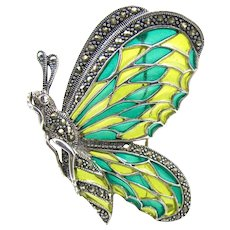 Sterling Silver Marcasite Enamel Butterfly Brooch.  Plique A Jour Stained Glass Enamel
