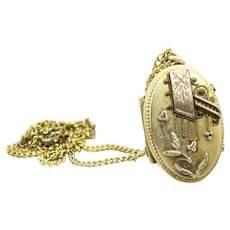 Antique Victorian Aesthetic Pinchbeck Locket. Leaves Scrolls. Oval Monogrammed Mourning Hair Picture Locket.