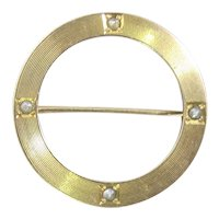 Victorian Gold Seed Pearl Circle Pin Brooch. 10K Yellow Gold