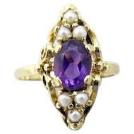 Antique Victorian 10K Amethyst Seed Pearl Ring. Yellow Gold Marquis Amethyst