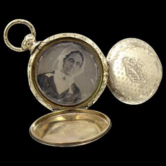 Antique 10K Yellow Gold Daguerreotype Pocket Watch Style Locket. Two Original Photos