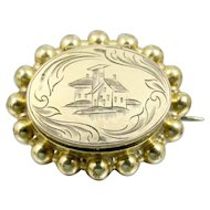 Victorian Scenic Locket 14K Yellow Rolled Gold Mourning Hair Locket