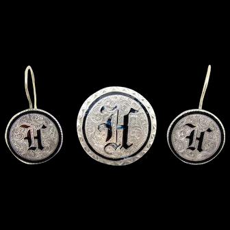 Antique Victorian Love Token Earring Brooch Set. Seated Liberty Quarter Dime Black Enamel H Monogram 14K Yellow Gold
