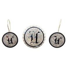 Antique Victorian Sterling Enamel Love Token Coin Brooch Set. 14K Ear Wire