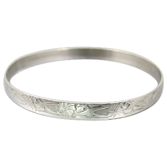 Art Nouveau Sterling Silver Bangle Bracelet