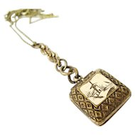 Victorian Square Scenic Locket Fob Pendant Rolled Gold