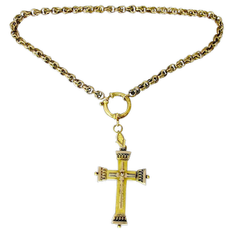 Etruscan Revival Cross Watch Chain Necklace