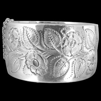 Liberty & Co. Sterling Silver Wide Bangle Bracelet. Repousse Floral Design British Hallmarks