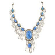 Antique Edwardian Black Opal Pearl Dangle Necklace