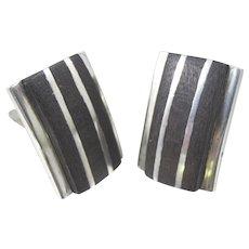 Sterling Silver Black Wood Cufflinks Mens Women's Unisex