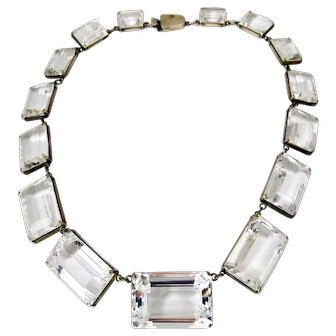Art Deco Sterling Silver Rock Crystal Necklace Earring Set