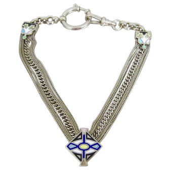 Victorian Albertina Silver Enamel Watch Chain Slide Bracelet
