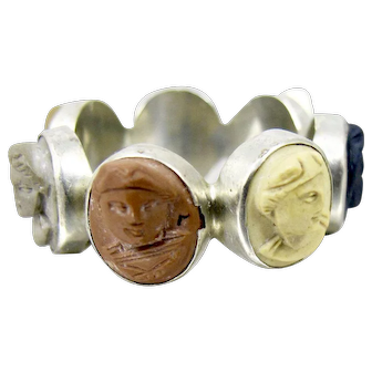 Victorian Lava Cameo Days Of The Week Ring Male Female Cameos Size 10.50 Ring
