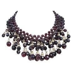 Vintage Dark Garnet Red Rhinestone Dangle Bib Collar Necklace