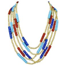 Egyptian Revival MMA Metropolitan Museum Of Art Stone Beaded Enamel Necklace Five Strand
