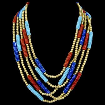 Egyptian Revival MMA Metropolitan Museum Of Art Stone Beaded Enamel Necklace Five Strand