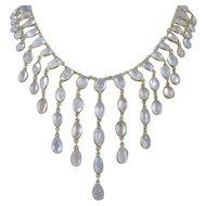 Art Nouveau 10K Yellow Gold Moonstone Bib Dangle Necklace