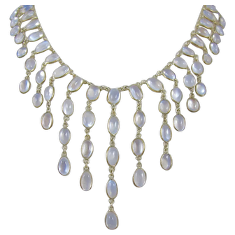 Art Nouveau 10K Yellow Gold Moonstone Bib Dangle Necklace