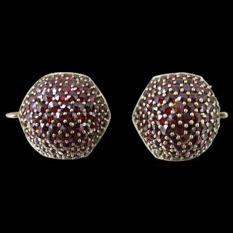 Czech Bohemian Garnet Lever Back Earrings. Rose Cut Garnets 900 Silver