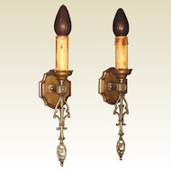 French Eclectic Style Single Bulb Sconces 1920s