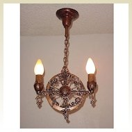 2 Bulb Vintage Spanish Revival Lighting Pendant. Refinished in original vintage colors.