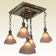 1904 Antique Shower Arts & Crafts Lighting Fixture. Original vintage light shades
