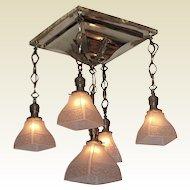 1904 Antique Shower Arts & Crafts Lighting Fixture. Original vintage light shades