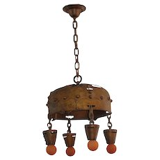1904 Arts & Crafts Hand Wrought & Hammered Antique Fixture