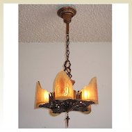 Beautiful 5 light vintage ceiling fixture in the Art Deco to Arts & Crafts style