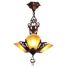 3 Slip Shade Vintage Chandelier by Virden  More than one available.
