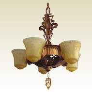 Beardslee Vintage 5 Slip Shade Fixture. 2 Matching Available Just Outstanding!